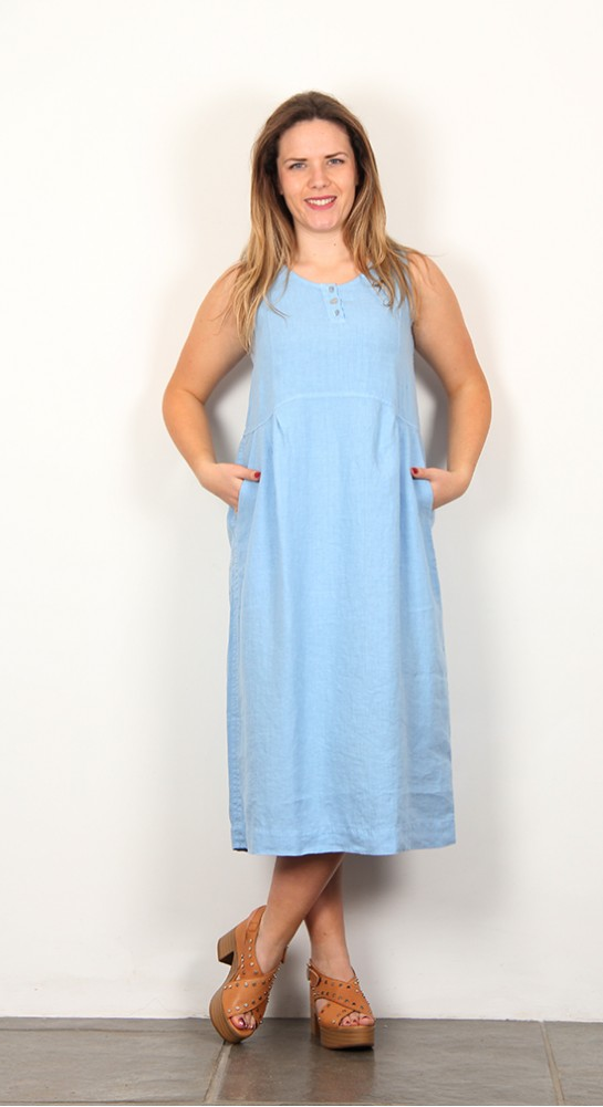 Shepards Linen Sleeveless Dress Pale Blue