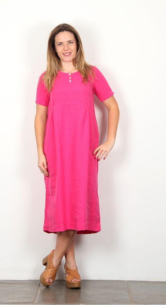 Shepards Linen Bubble Dress Raspberry Pink