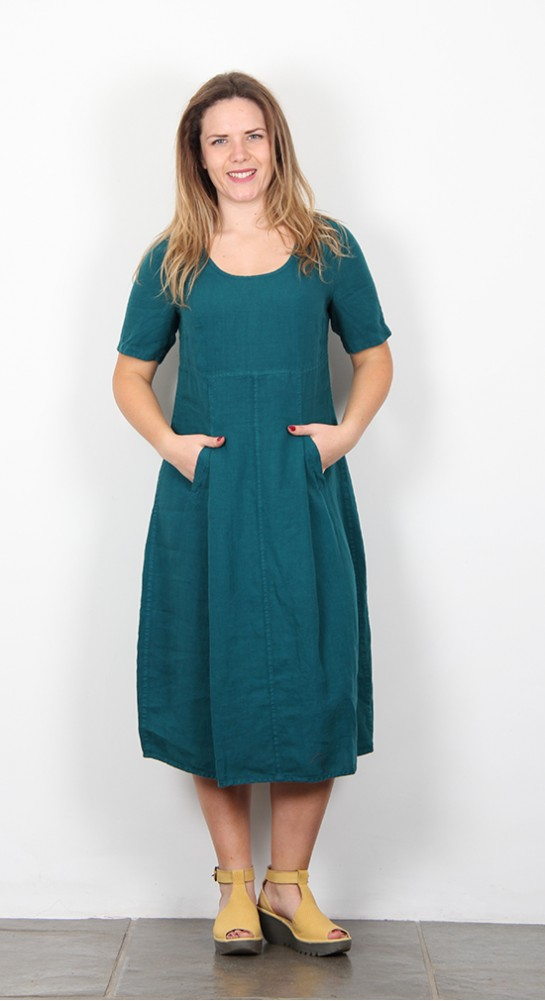 Shepards Linen Bubble Dress Petrol