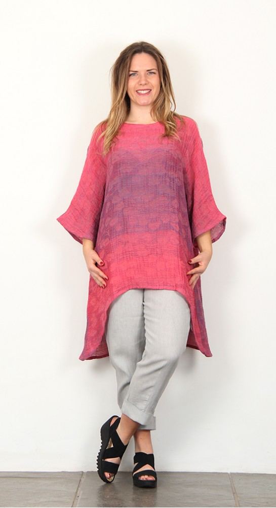 Shepards Linen High-Low Tunic Pink