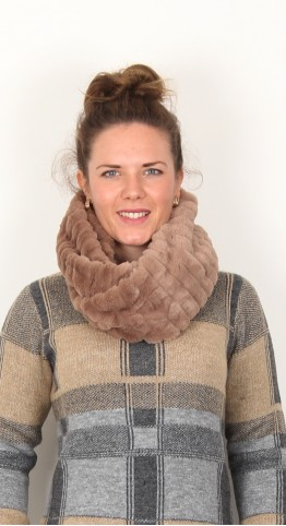 Soyaconcept Bebe Faux Fur Circle Scarf Cocoa