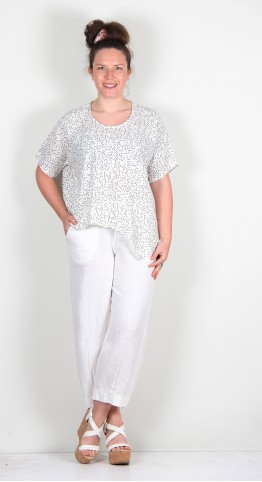 Thing Linen Lines Print Point Hem Top Off White