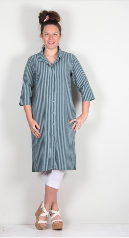 Thing Cotton Stripe Shirt Dress Jade