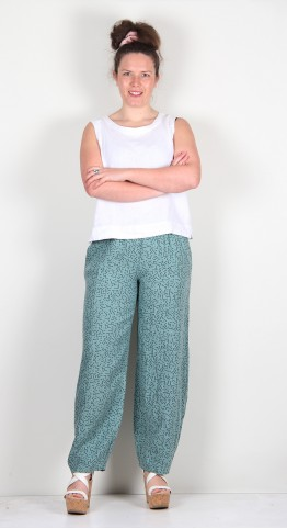 Thing Linen Lines Print Bubble Pant Jade