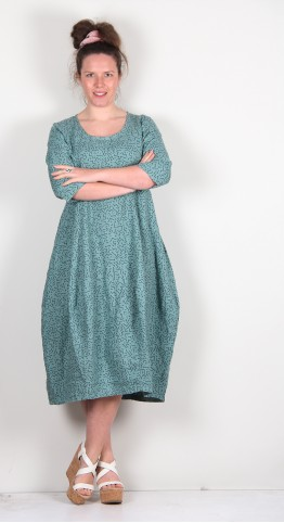 Thing Linen Lines Print Tulip Dress Jade