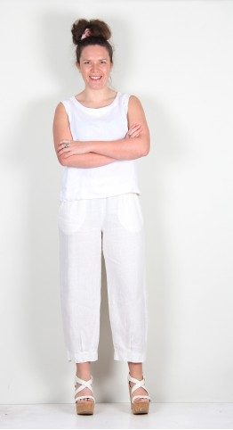 Thing Linen Cropped Pant Off White