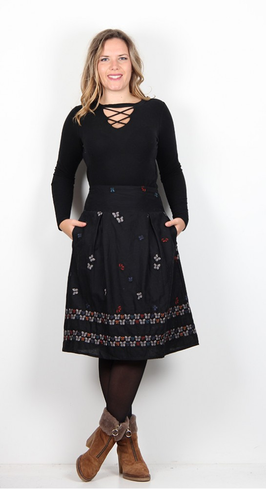 Thought Clothing Papilo Embroidered Skirt Black