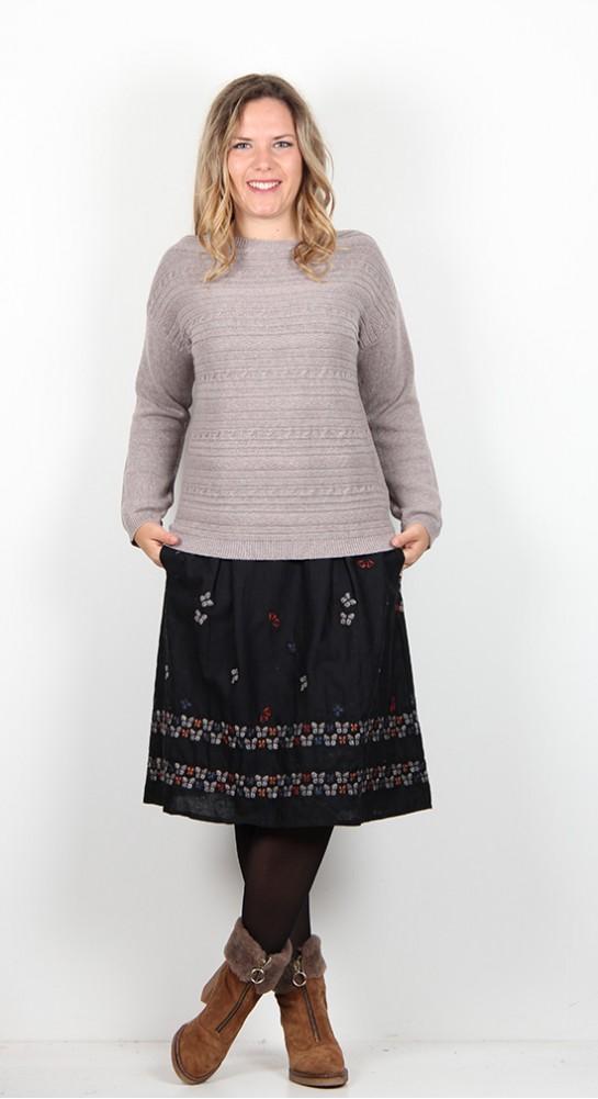 Thought Clothing Elizabeth Stitch Jumper Warm Grey