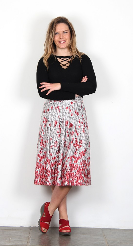 Thought Clothing Spot Dash Pleated Skirt Stone