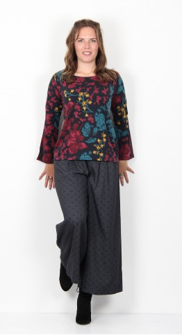 Thought Clothing Agnetha Floral Print Bamboo Top Midnight