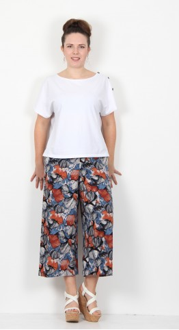 Thought Clothing Lyme Hemp Print Culottes Mushroom Grey