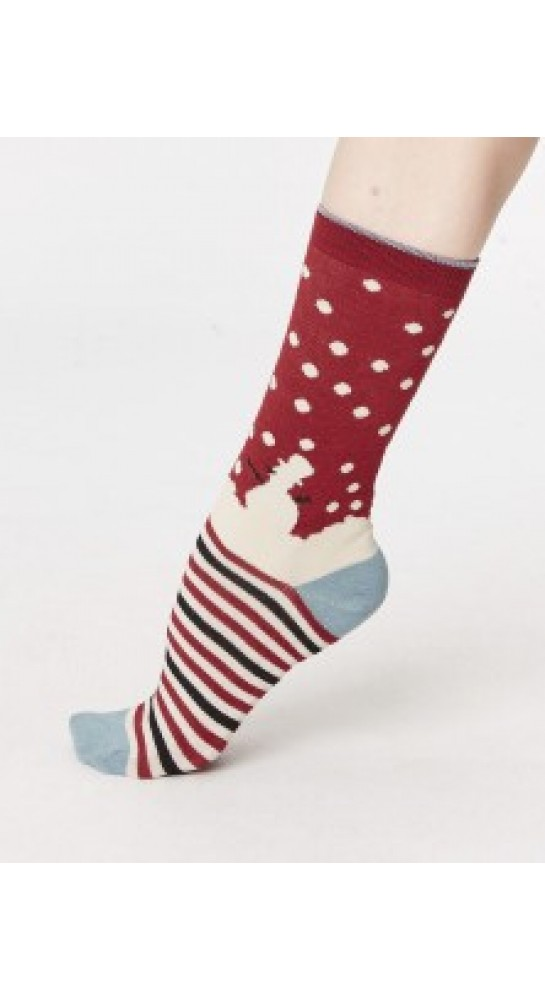 Thought Clothing Snowman Socks Cranberry