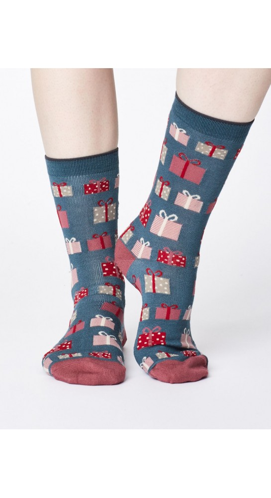 Thought Clothing Gift Socks Holly Green