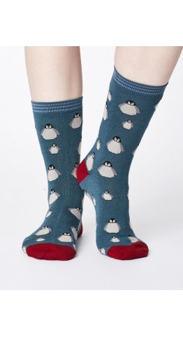 Thought Clothing Penguin Socks Holly Green