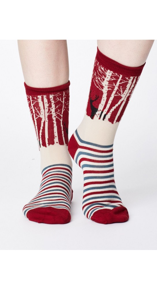Thought Clothing Winter Wood Socks Claret Red