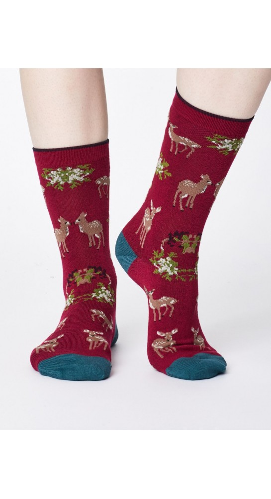 Thought Clothing Renko Socks Cranberry