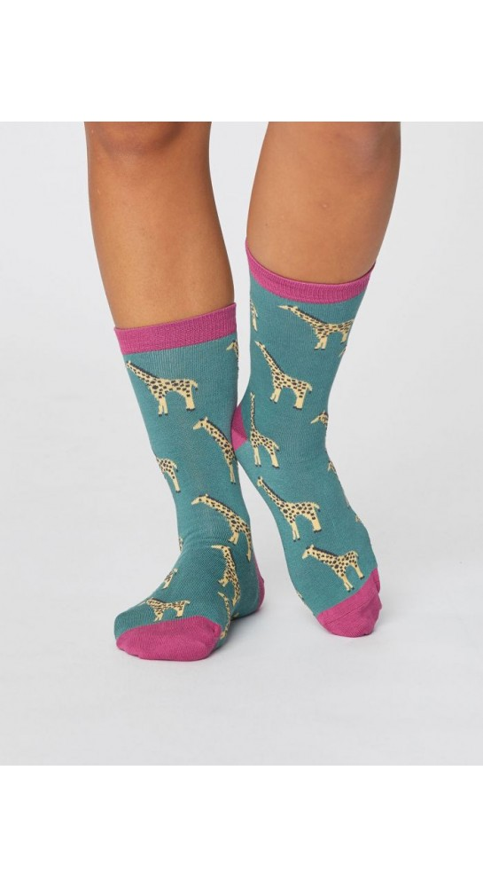 Thought Clothing Safari Wild Animal Socks Eucalyptus Green