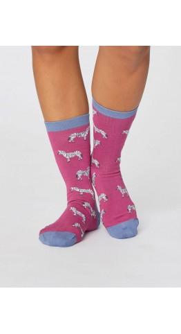 Thought Clothing Safari Wild Animal Socks Magenta