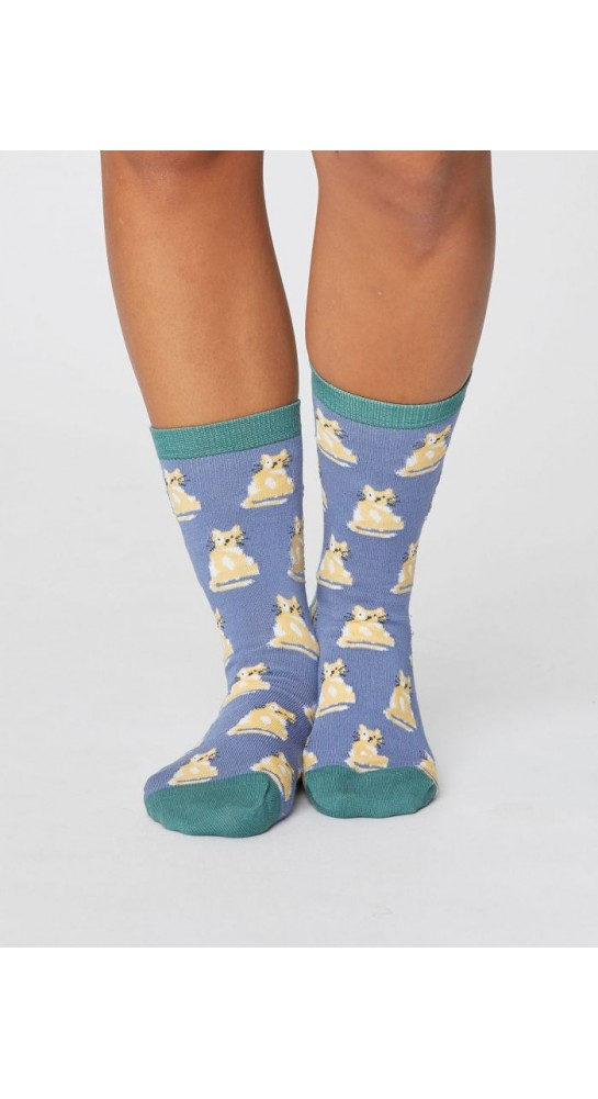 Thought Clothing Cute Cat Socks Sea Blue