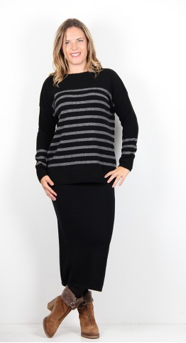 Two Danes Yara Stripe Knit Black/Grey