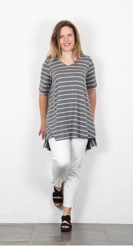 Two Danes Bao Tee Shirt Sage Grey Stripe