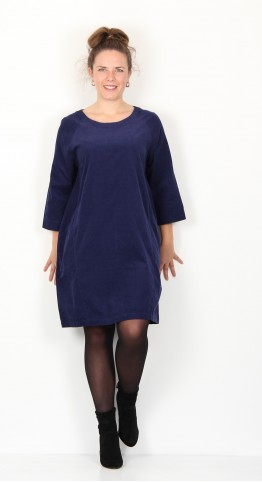 Two Danes Cissie Tunic/Dress Fine Cord Navy