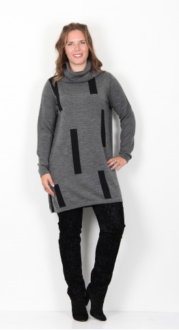 Two Danes Mabel Sticks Tunic Dark Grey Melange Black