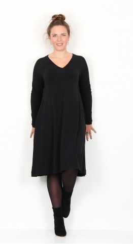 Two Danes Brit V Neck Dress Black
