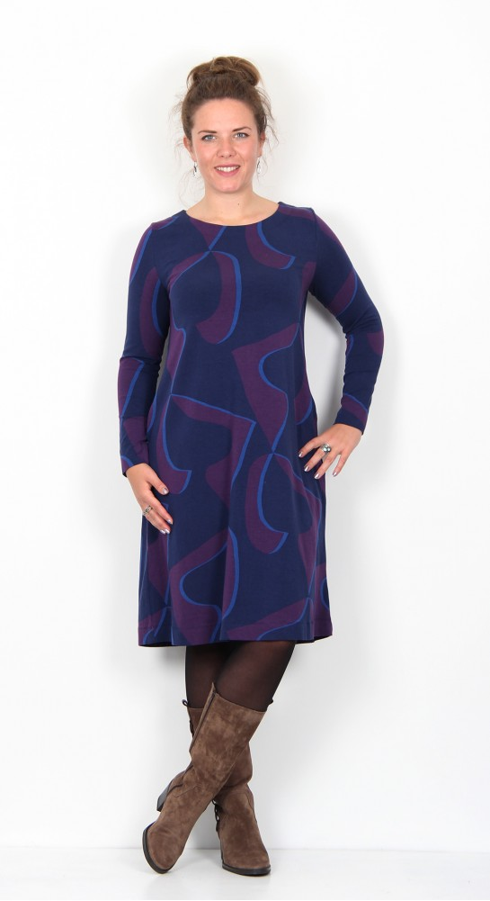 Two Danes Bonnie Dress Navy Purple Velvet