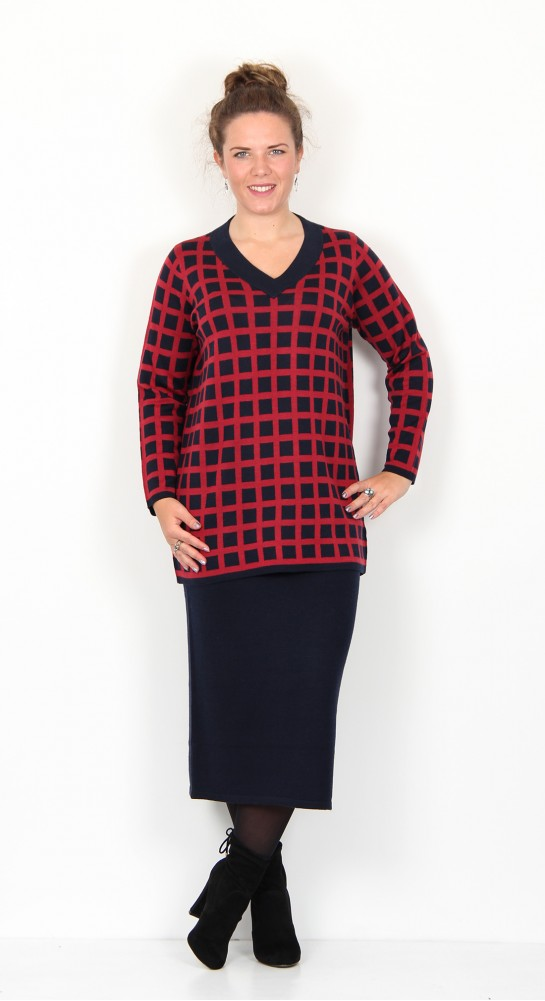 Two Danes Mutzi V-Neck Tunic Navy Blue Chilli Red