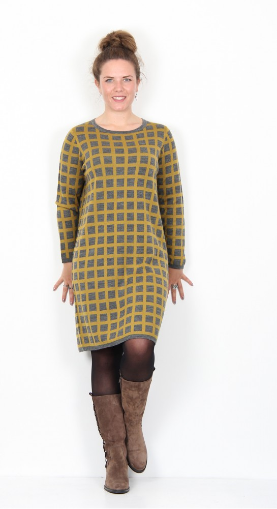Two Danes Mirabel Knit Dress Dark Grey Melange Curry