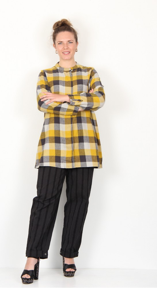 Two Danes Eryn Checked Shirt Curry Raindrop