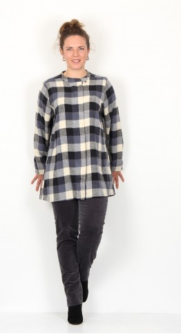 Two Danes Eryn Checked Shirt Black Pilot Blue