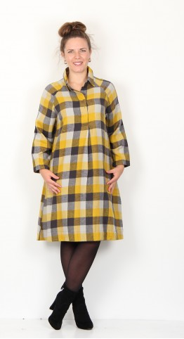 Two Danes Eleonora Checked Shirt Dress Curry Raindrop