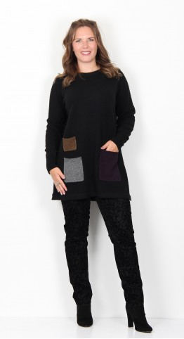 Two Danes Yes Three Pocket Tunic Black Combo