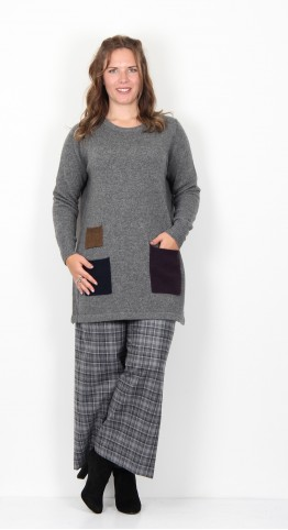 Two Danes Yes Three Pocket Tunic Dark Grey Melange Combo