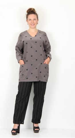 Two Danes Clover Corduroy Tunic Granite Black