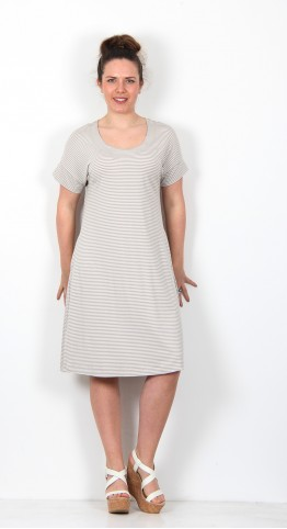 Two Danes Bajas Dress Dove Soft White Stripe