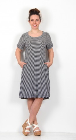 Two Danes Bajas Dress Dark Navy Soft White Stripe