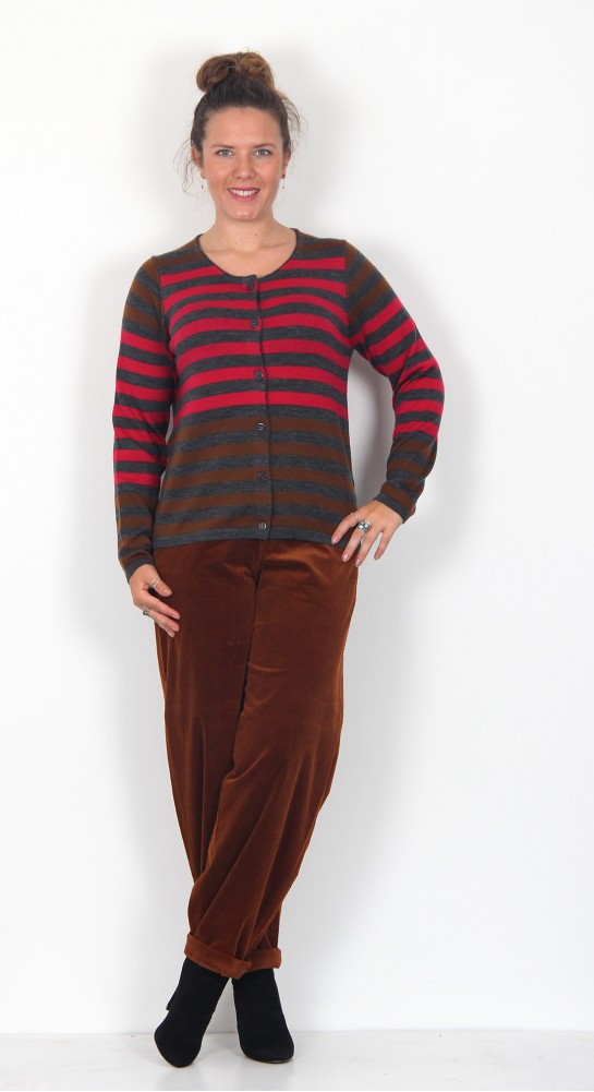 Two Danes Mucca Cardigan Charcoal Stripe