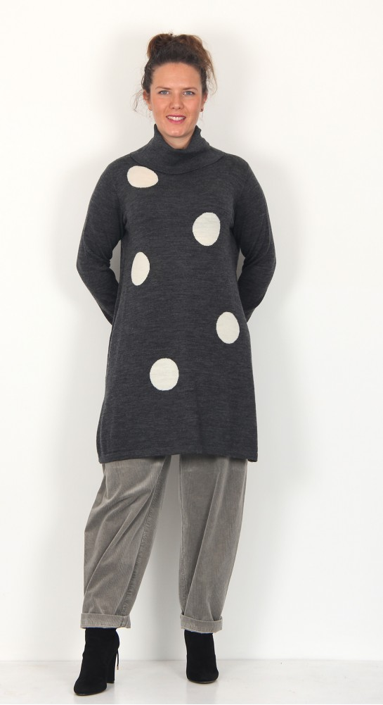 Two Danes Mable Spot Tunic Charcoal Winter White