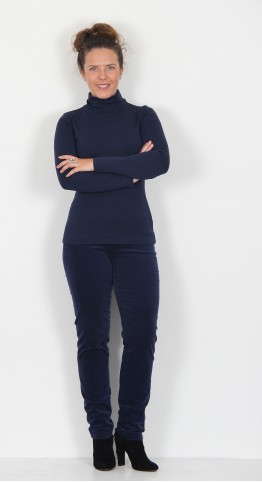 Two Danes Agnes Polo Neck Cotton Top French Navy