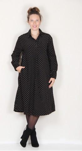 Two Danes Cynthia Needle Cord Shirt Dress Black Spot