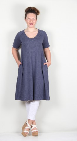 Two Danes Hedy Dress Hemp/Cotton Jersey Mood Indigo Stripe
