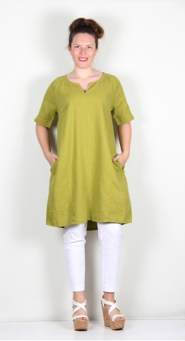 Two Danes Laica Linen/Cotton Tunic/Dress Moss Green