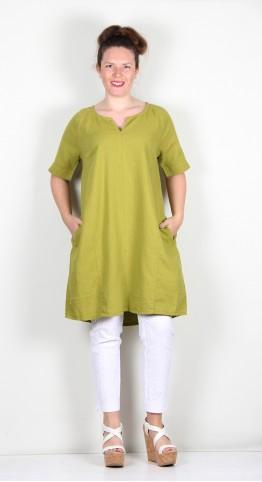 Two Danes Laica Linen/Cotton Tunic/Dress Moss Green