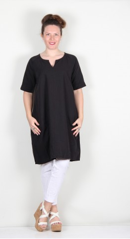 Two Danes Laica Linen/Cotton Tunic/Dress Black