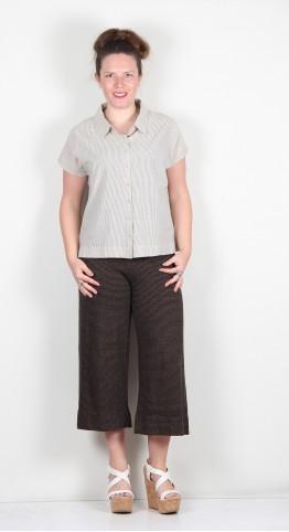 Two Danes Taba Cotton Shirt Ecru Black Stripe