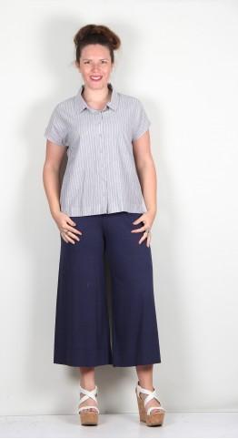 Two Danes Taba Cotton Shirt Lilac Navy Blazer Stripe