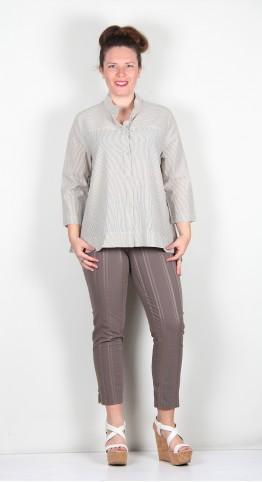 Two Danes Chance Cotton Shirt Ecru Black Stripe